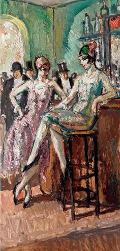 Painting by Marcel Cosson (1878-1956), Au bar de chez Maxim's, Oil on board. (detail)