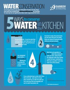 Tips from our blog for how to conserve water in the kitchen. #infographic