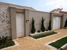 modern home exterior wall design house front decoration ideas 2019 Exterior Wall Design, Gate Design, Compound Wall Design, Modern Fence Design, Facade House, Front Yard Landscaping, Diy Backyard Fence, House Front, Outdoor Decor