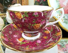 Royal Albert Tea Cup and Saucer Saucer Old Country Old Country Roses Ruby Lace Chintz