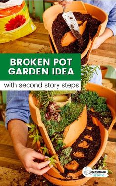 Fun idea for turning a broken clay pot in to a magical fairy garden. It even has steps going up to a second story! Love this cute idea for DIY fairy gardens. Small Garden Gnomes, Gnome Garden, Garden Pots, Gnome Statues, Garden Statues, Broken Pot Garden, Dinosaur Garden, Nursing Home Activities, Funny Gnomes