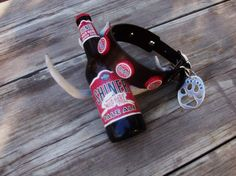 500028aad28 Wild Hare Shiner Beer Bottle Cap Leather dog by StickDogLeather