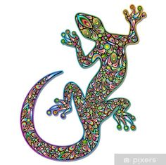 Gecko Geko Lizard Psychedelic Art Design-Geco Psichedelico Sticker ✓ Easy Installation ✓ 365 Days to Return ✓ Browse other patterns from this collection! Psychedelic Art, Mosaic Diy, Mosaic Glass, Dot Painting, Stone Painting, Lizard Image, Colorful Lizards, Lizard Tattoo, Wall Stickers Wallpaper