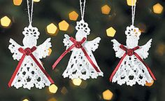Victorian Crocheted Angel Christmas Ornaments with maroon ribbon ties