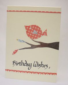 Little bird calligraphy card by QuillPaperScissors on Etsy