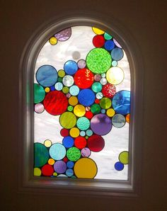 """custom stained glass for circle pane Stained Glass Window Panel / """"Bubbles Mix"""" (W-27)"""