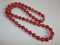 """Beautiful Vintage Chinese Carnelian Bead 28"""" Necklace - 925 Silver Gilt Clasp"""