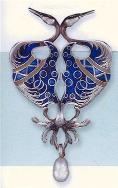 RENÉ LALIQUE. 1900 Silver and enamel brooch with baroque pearl drop. Via Nancy Shogren.