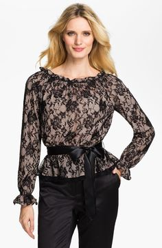 Adrianna Papell  Bishop Sleeve Lace Blouse