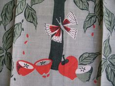 Emily. Vtg linen Leacock kitchen towel apples and by fuzzandfu on Etsy