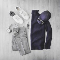 Grey + Navy = The Best Thing Ever. . . Repost @thepacman82 Simple statements. Sweater/Trousers: @grayers Socks: @americantrench Wool/Silk Headphones: @beoplay H7 Cap: @varsityheadwear Wool Watch: @hamiltonwatch Seaview Auto Shoes: @commonprojects Achilles