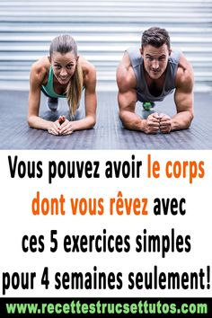 Vous pouvez avoir le corps dont vous rêvez avec ces 5 exercices simples pour 4 … You can have the body you dream of with these 5 simple exercises for only 4 weeks! Training Plan, Weight Training, Bodybuilding, Best Body Weight Exercises, Sports Nutrition, Nutrition Club, Sport Motivation, Workout Challenge, Easy Workouts