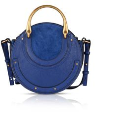 Chloé Small Pixie Bag In Shiny Majesty Blue Goat Leather (5.535 RON) ❤ liked on Polyvore featuring bags, handbags, zip top bag, goat leather purse, studded purse, studded bag and chloe handbags