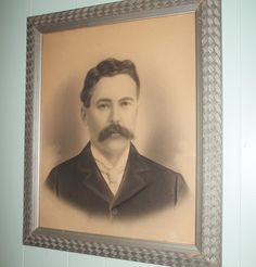 Charcoal portrait of mustach man, large framed crayon enlargement, photograph, black & white with sepia background tones, antique gentleman by GraceYourNest on Etsy