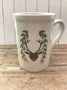 A personal favorite from my Etsy shop https://www.etsy.com/listing/552211871/reindeer-christmas-hand-painted-mug