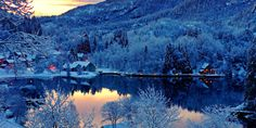 nature landscapes lakes trees mountains forest hills mountains water reflection sky sunset sunrise winter snow seasons architecture buildings resort cabins house lights window rustic village free desktop backgrounds and wallpapers Winter Wallpaper Hd, Nature Wallpaper, Sunset Wallpaper, Wallpaper Desktop, Norway Winter, Norway Nature, Beautiful Norway, Water Reflections, Amazing Sunsets
