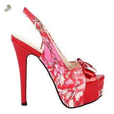 Show Story Women's Red Peep Toe Slingback Stiletto Party Pump Heels Shoes,LF80904RD39,8US,Red - Show story pumps for women (*Amazon Partner-Link)