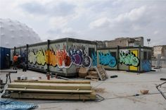 Check out how Heavy Artillery's Aroe has spruced up the porta-cabins on the London Pleasure Gardens building site. The consistency of his letters between each throw up just shows the years that have gone into refining them! Check out www.heavyartillerycrew.com for more!