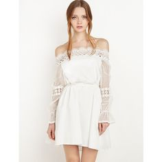 Lace Crochet off the shoulder dress by New Revival ($128) ❤ liked on Polyvore featuring dresses, white babydoll dress, white long sleeve dress, off the shoulder lace dress, long sleeve dress and crochet lace dress
