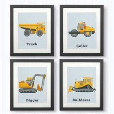 CONSTRUCTION PRINTS, Set of 4 Prints, Boys rooms. Decor for Toddlers, wall art, bulldozer print, truck print, construction decor