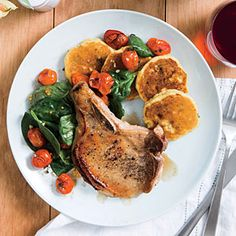 Honey-Glazed Pork Chops with Tomato Salad | CookingLight.com #myplate #protein #fruit