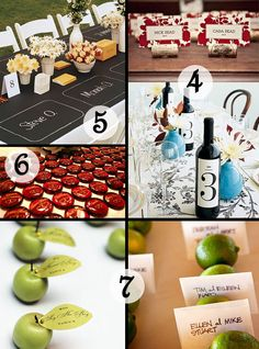 Escort card idea: place the guests' names in the corks and have wine bottles with the table numbers at the table.