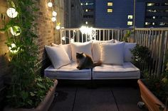 Patio, lights, cushions, white