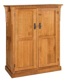 Amish Broadway Mission 2-Door Pantry Stunning solid wood pantry. The Broadway is a top performer! Gorgeous solid wood doors open to compartments you help design. You can choose slide out drawers, adjustable shelves, or a combination of the two inside!