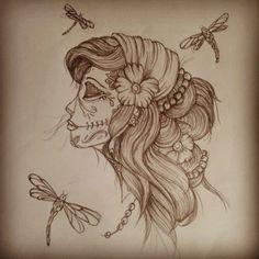 Gypsy Skull Tattoo | Gypsy Sugar Skull n Dragonflies Tattoo Design