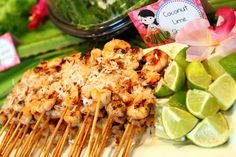 Coconut lime skewers at a Hawaiian Luau Birthday Party!  See more party ideas at CatchMyParty.com!  #partyideas #hawaiian