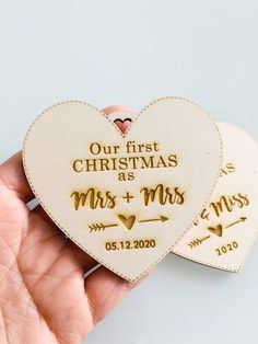"""""""Our First Christmas as"""" Christmas ornament to add to your Christmas Tree, personalized with your wedding date.It's engraved and cut in a laser-cut machine, and the processing time is 48/72h to ship. #christmasornaments #ourfirstchristmas #christmastags"""