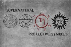 Supernatural Symbols by singularity-AD    Key of Solomon, Devil's Trap, Angel Banishing Sigil and Anti-Possession tattoo. / get the last one behind my ear, real tiny