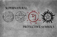 Supernatural Symbols by singularity-AD Key of Solomon, Devil's Trap, Angel Banishing Sigil and Anti-Possession tattoo.
