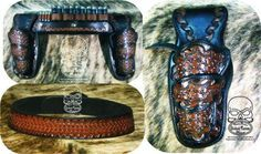 """SASS race rig with shotgun slider for Karen Hewitt at Redwing Trading. Fast draw holsters and a curved belt for a ladies curves.  Holsters are steel lined. Walnut and black with carved ribbon and a barb wire background. Colt Single Action Army 4 78"""" www.slickbald.com #leather #gunbelt #holster #SASS #colt #SAA"""