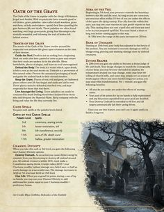 [OC] Paladin Oath of the Grave - A Paladin Oath to match the Grave Cleric : UnearthedArcana Dungeons And Dragons Ranger, Dungeons And Dragons Classes, Dnd Dragons, Dungeons And Dragons Homebrew, Ranger Dnd, Dnd Paladin, Pen And Paper Games, Dnd Classes, Dungeon Master's Guide