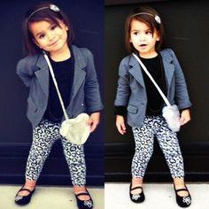 She kind of looks like a mini me! Love the leopard leggings