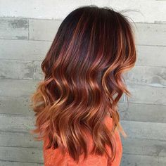 Copper, Golden and Caramel Balayage Highlights for Fall