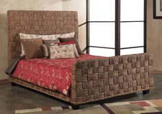 Furniture Wicker Nightstand By Seagrass With Double Bed Cool ...