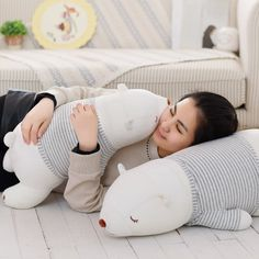 Lovely stuffed soft plush white sleeping bear bedding pillow bear with stripe clothes kids toys animal doll gifts //Price: $7.00 & FREE Shipping //     http://www.asaitea.com/lovely-stuffed-soft-plush-white-sleeping-bear-bedding-pillow-bear-with-stripe-clothes-kids-toys-animal-doll-gifts/    #pregnancy