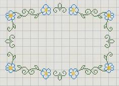 Buzy Bobbins: Green, blue and yellow cross stitch flower border
