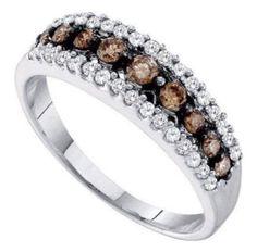 0.51 cttw 10k White Gold Cognac Brown Diamond Wedding Anniversary Band 6mm (Sizes 3-11) by Pricegems Diamonds - See more at: http://blackdiamondgemstone.com/colored-diamonds/jewelry/051-cttw-10k-white-gold-cognac-brown-diamond-wedding-anniversary-band-6mm-sizes-311-com/#sthash.6CkUlsRJ.dpuf