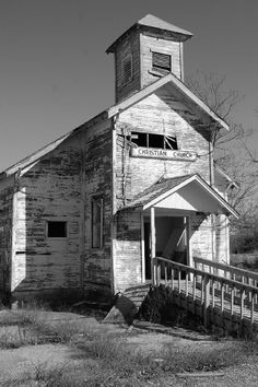 An old church in Picher, OK that has been abandoned.