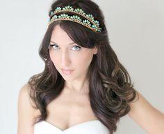 Bridal Headband Art Deco style Blue Peacock Rhinestone by deLoop