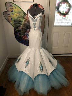 Happily Ever After look made with white sequins, blue tulle and rhinestone appliqué for 2019 Cinderella collection Wedding Dress Cookies, Rhinestone Appliques, Happily Ever After, Cinderella, Tulle, Sequins, Wedding Dresses, Clothing, Collection