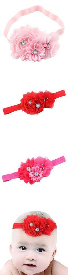Queengirls Baby Girls Shabby Chic Flower Headbands Baby Hair Bows pink
