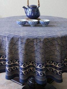 Amazon.com: Pacific Blue ~ Rustic Navy Ocean Oriental Asian Round Tablecloth 90 Round: Home & Kitchen