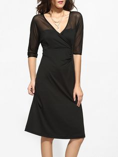 #AdoreWe #FashionMia Skater Dresses - FashionMia V Neck Dacron Plain Seethrough Skater Dress - AdoreWe.com