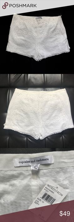 """Cupcakes and Cashmere Pom Pom crochet shorts sz 12 Cupcakes and Cashmere white Pom Pom crochet shorts size 12. $118 retail, $95 Nordstrom, damaged on left side. See pics  Waist 32"""" Rise 12"""" Inseam 3""""  Not what you're looking for? Feel free to browse my closet for other occasions: Winter, spring, summer, fall, birthday, New Year's Eve, Valentine's Day date, Graduation, Prom, Purim, St. Patrick's Day, Easter, Earth Day, Cinco de Mayo, Mother's Day, EDC, Coachella, Memorial Day, Comic Con, 4th…"""