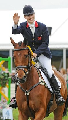 Zara Phillips with baby Mia (left) and on her horseHigh Kingdom (right). The royal has co...