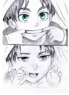 Toddler Eran and Levi. Attack on Titan ~ Shingeki no Kyojin.